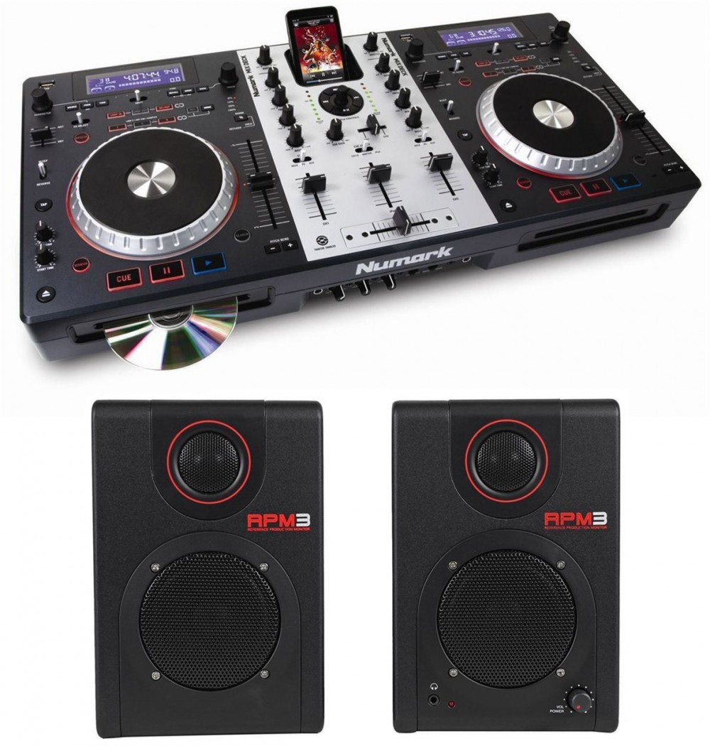 numark mixdeck dual dj controller cd player mixer akai powered monitors audio savings. Black Bedroom Furniture Sets. Home Design Ideas