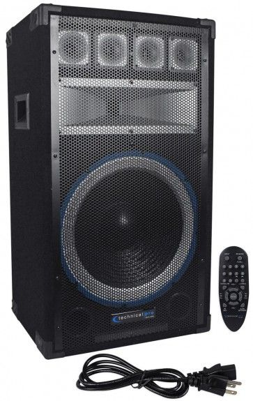 "Technical Pro PVRTX15UBT 15"" 2000 Watt Powered Active Speaker w/ USB+Bluetooth"