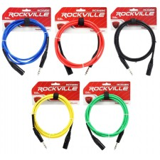 5 Rockville 6' Male REAN XLR to 1/4'' TRS Balanced Cable OFC (5 Colors)