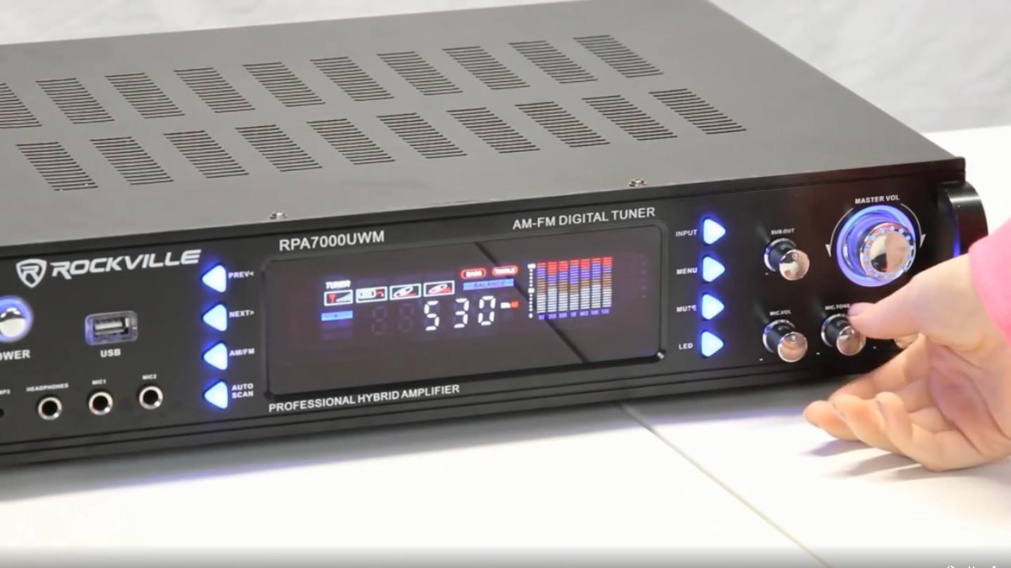Rockville Rpa7000uwm 1000w 2 Channel Rack Dj Amplifier Receiver W 2 Vhf Mics Usb