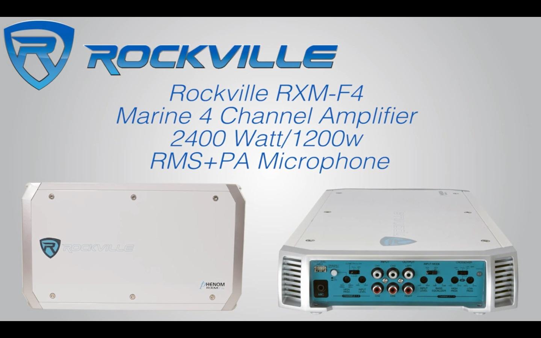 Rockville RXM-F4 Marine 4 Channel Amplifier 2400 Watt//1200w RMS+PA Microphone