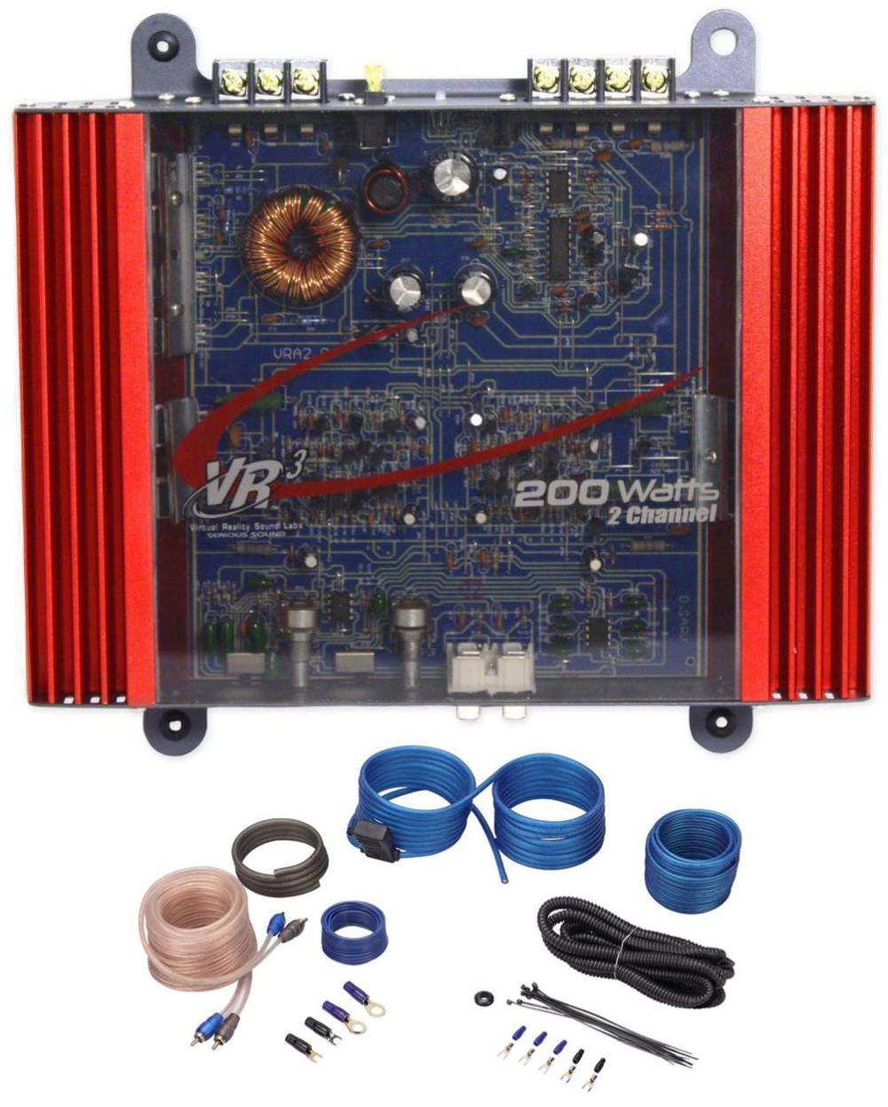 VR3 VRA2.0 100 Watt RMS 200 Watt Peak 2 Channel Car Amplifier + Amp Kit |  Audio Savings | Vr3 Car Stereo Wire Harness |  | Audio Savings