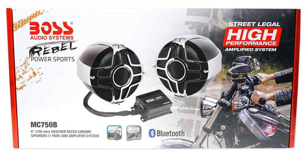 "Pair Boss MC750B 4/"" 1000 Watt Motorcycle//ATV Handlebar Speakers+Amplifier+Remote"