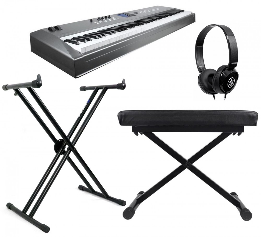 New Yamaha Mm8 Digital Keyboard Bundle With Stand Bench Headphones Audio Savings